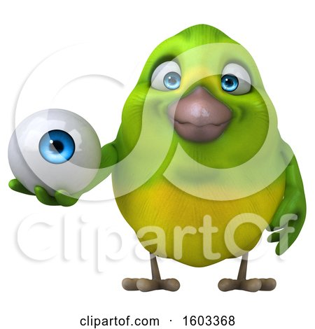 Clipart of a 3d Green Bird Holding an Eyeball, on a White Background - Royalty Free Illustration by Julos