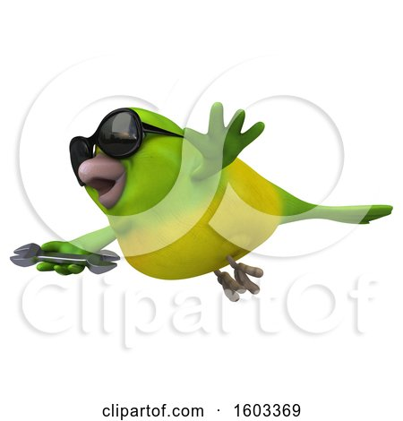 Clipart of a 3d Green Bird Holding a Wrench, on a White Background - Royalty Free Illustration by Julos