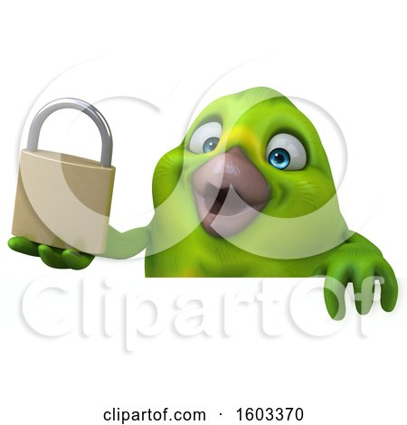 Clipart of a 3d Green Bird Holding a Padlock, on a White Background - Royalty Free Illustration by Julos