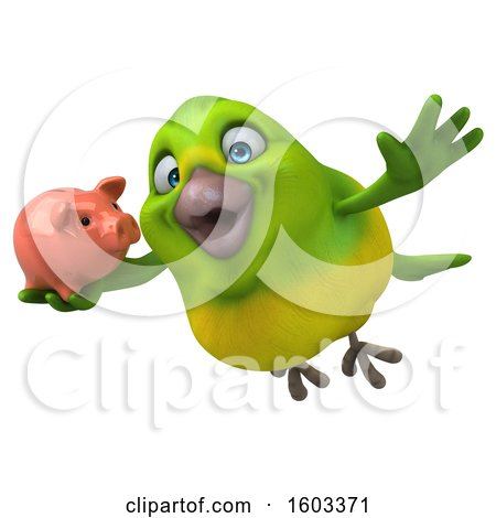 Clipart of a 3d Green Bird Holding a Piggy Bank, on a White Background - Royalty Free Illustration by Julos