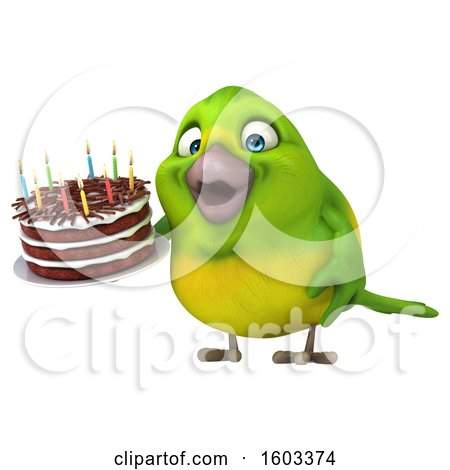 Clipart of a 3d Green Bird Holding a Birthday Cake, on a White Background - Royalty Free Illustration by Julos