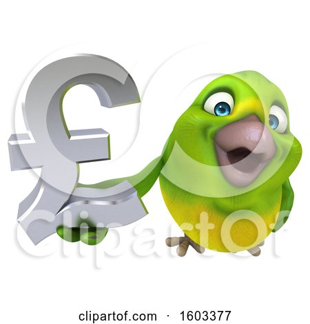 Clipart of a 3d Green Bird Holding a Lira Symbol, on a White Background - Royalty Free Illustration by Julos