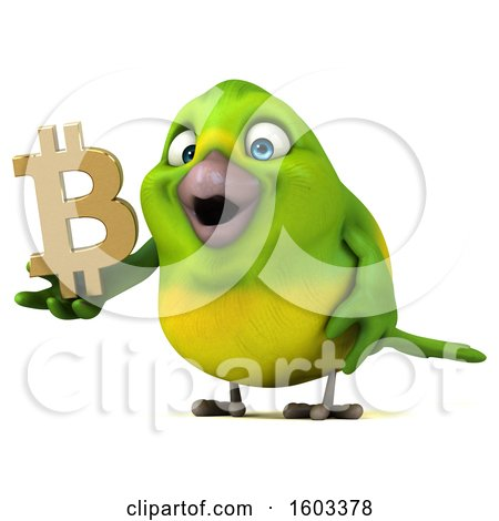 Clipart of a 3d Green Bird Holding a Bitcoin Symbol, on a White Background - Royalty Free Illustration by Julos