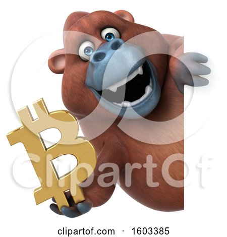 Clipart of a 3d Orangutan Monkey Holding a Bitcoin Symbol, on a White Background - Royalty Free Illustration by Julos