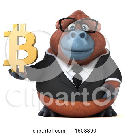 Clipart of a 3d Business Orangutan Monkey Holding a Bitcoin Symbol, on a White Background - Royalty Free Illustration by Julos