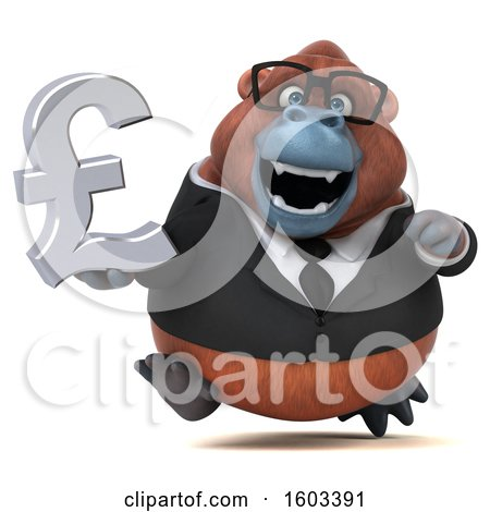 Clipart of a 3d Business Orangutan Monkey Holding a Lira, on a White Background - Royalty Free Illustration by Julos
