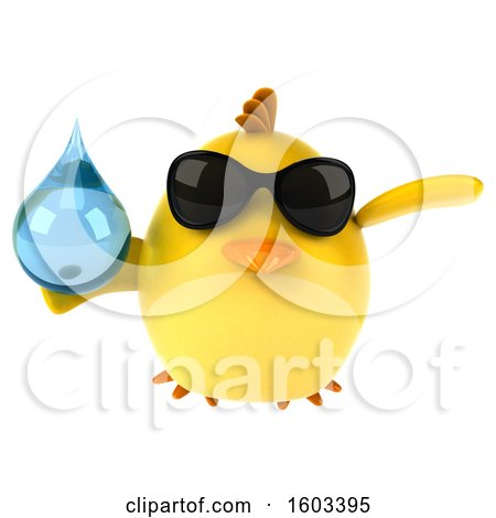 Clipart of a 3d Yellow Bird Holding a Water Drop, on a White Background - Royalty Free Illustration by Julos