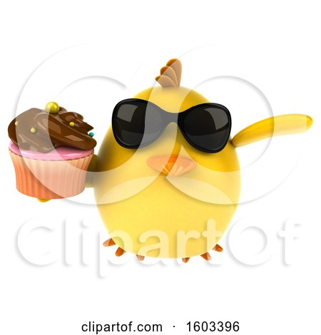 Clipart of a 3d Yellow Bird Holding a Cupcake, on a White Background - Royalty Free Illustration by Julos