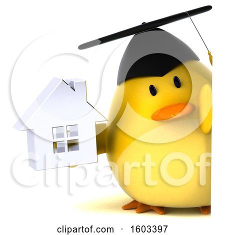 Clipart of a 3d Yellow Bird Graduate Holding a House, on a White Background - Royalty Free Illustration by Julos