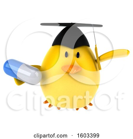 Clipart of a 3d Yellow Bird Graduate Holding a Pill, on a White Background - Royalty Free Illustration by Julos