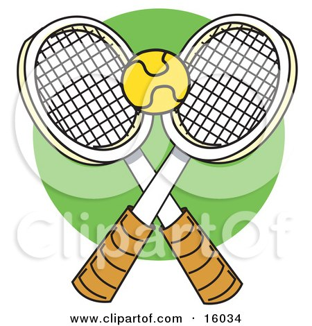 Yellow Tennis Ball Over Two Rackets Clipart Illustration by Andy Nortnik