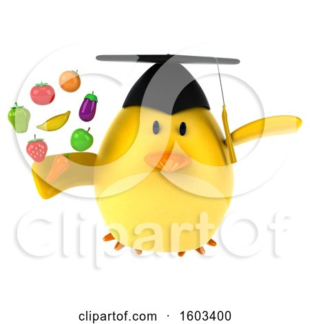 Clipart of a 3d Yellow Bird Graduate Holding Produce, on a White Background - Royalty Free Illustration by Julos