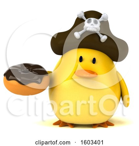 Clipart of a 3d Yellow Bird Pirate Holding a Donut, on a White Background - Royalty Free Illustration by Julos