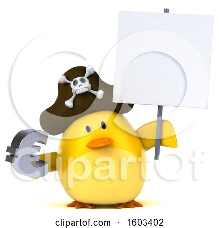 Clipart of a 3d Yellow Bird Pirate Holding a Euro, on a White Background - Royalty Free Illustration by Julos