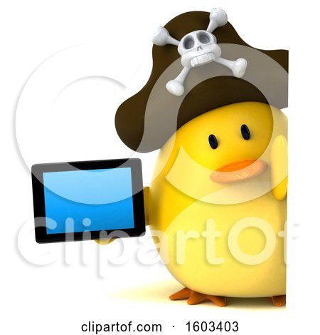 Clipart of a 3d Yellow Bird Pirate Holding a Tablet, on a White Background - Royalty Free Illustration by Julos