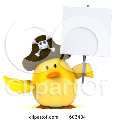 Clipart of a 3d Yellow Bird Pirate Holding a Banana, on a White Background - Royalty Free Illustration by Julos