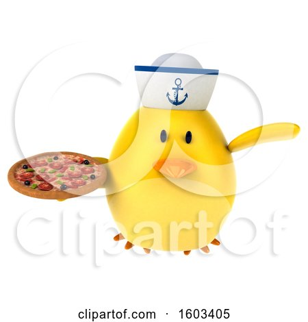Clipart of a 3d Yellow Bird Sailor Holding a Pizza, on a White Background - Royalty Free Illustration by Julos