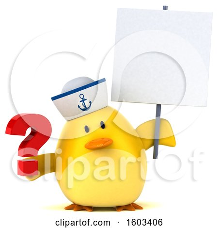 Clipart of a 3d Yellow Bird Sailor Holding a Question Mark, on a White Background - Royalty Free Illustration by Julos