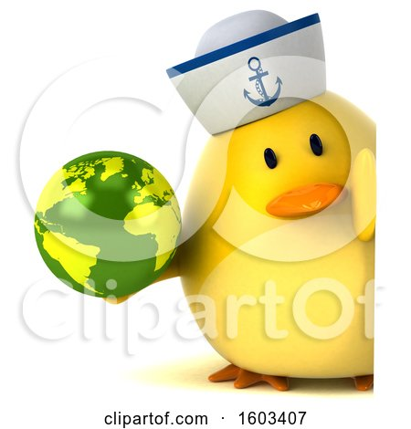 Clipart of a 3d Yellow Bird Sailor Holding a Globe, on a White Background - Royalty Free Illustration by Julos