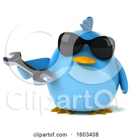 Clipart of a 3d Chubby Blue Bird Holding a Wrench on a White Background - Royalty Free Illustration by Julos