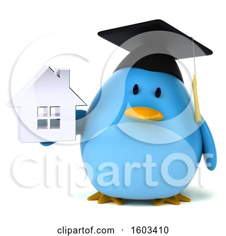 Clipart of a 3d Chubby Blue Bird Graduate Holding a House, on a White Background - Royalty Free Illustration by Julos