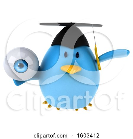 Clipart of a 3d Chubby Blue Bird Graduate Holding an Eyeball, on a White Background - Royalty Free Illustration by Julos