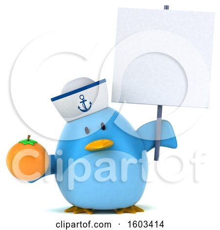 Clipart of a 3d Blue Bird Sailor Holding an Orange, on a White Background - Royalty Free Illustration by Julos