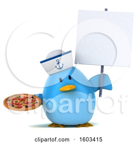Clipart of a 3d Blue Bird Sailor Holding a Pizza, on a White Background - Royalty Free Illustration by Julos