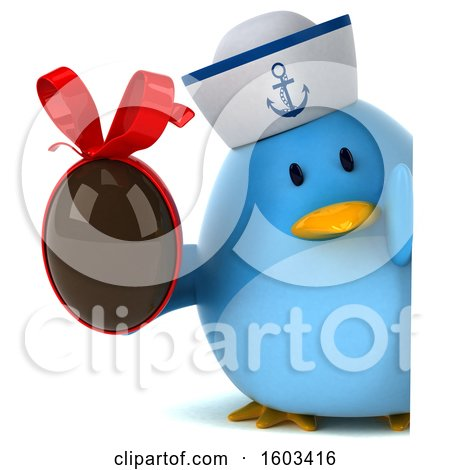 Clipart of a 3d Blue Bird Sailor Holding a Chocolate Egg, on a White Background - Royalty Free Illustration by Julos