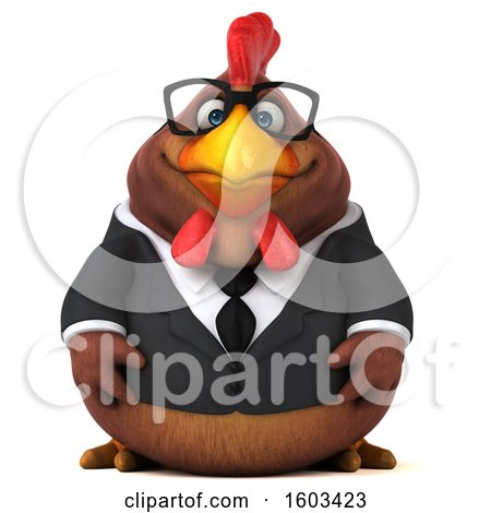 Clipart of a 3d Brown Business Chicken, on a White Background - Royalty Free Illustration by Julos