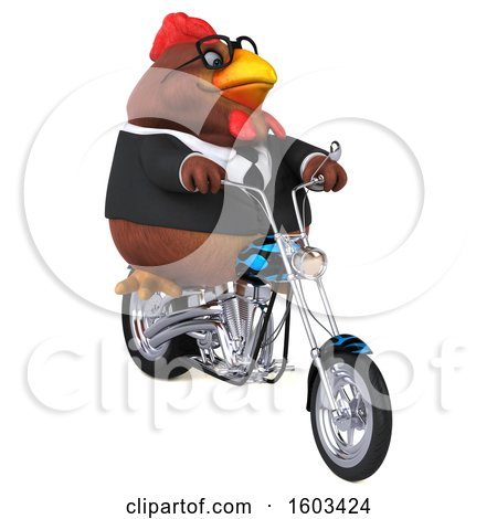 Clipart of a 3d Brown Business Chicken Biker Riding a Chopper Motorcycle, on a White Background - Royalty Free Illustration by Julos