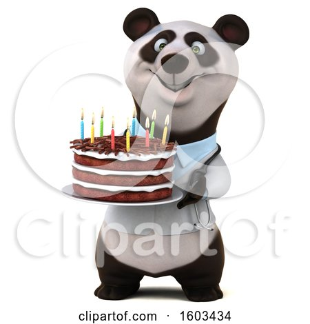 Clipart of a 3d Doctor Panda Holding a Birthday Cake, on a White Background - Royalty Free Illustration by Julos