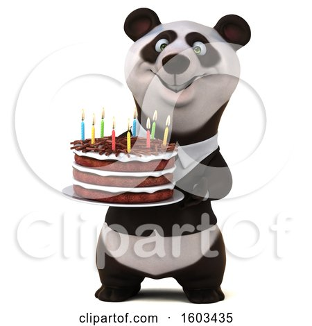 Clipart of a 3d Business Panda Holding a Birthday Cake, on a White Background - Royalty Free Illustration by Julos