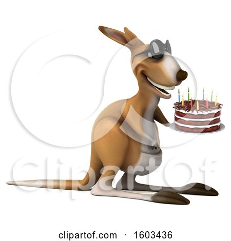Clipart of a 3d Kangaroo Holding a Birthday Cake, on a White Background - Royalty Free Illustration by Julos