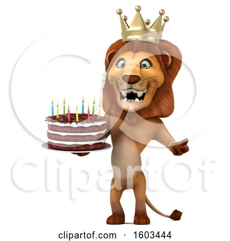 Clipart of a 3d King Lion Holding a Birthday Cake, on a White Background - Royalty Free Illustration by Julos