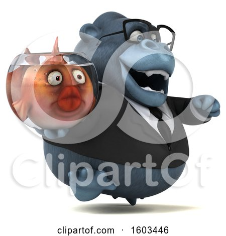 Clipart of a 3d Business Gorilla Holding a Fish Bowl, on a White Background - Royalty Free Illustration by Julos