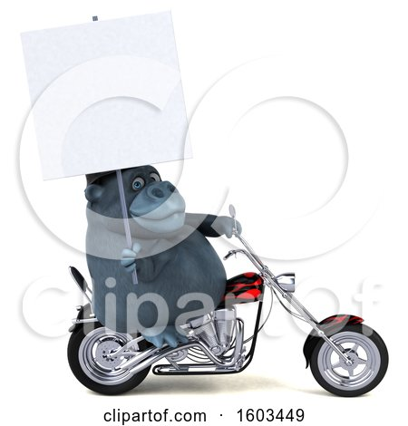 Clipart of a 3d Gorilla Biker Riding a Chopper Motorcycle, on a White Background - Royalty Free Illustration by Julos