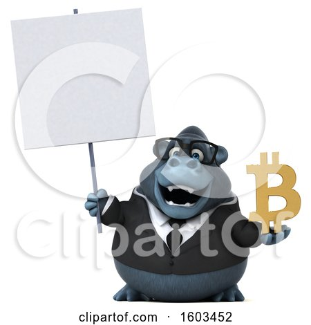 Clipart of a 3d Business Gorilla Holding a Bitcoin Symbol, on a White Background - Royalty Free Illustration by Julos