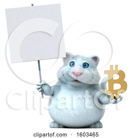 Clipart of a 3d White Kitty Cat Holding a Bitcoin Symbol, on a White Background - Royalty Free Illustration by Julos