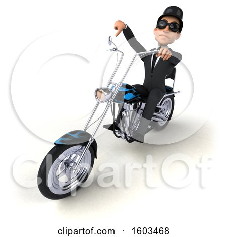 Clipart of a 3d White Business Man Riding a Chopper Motorcycle, on a White Background - Royalty Free Illustration by Julos