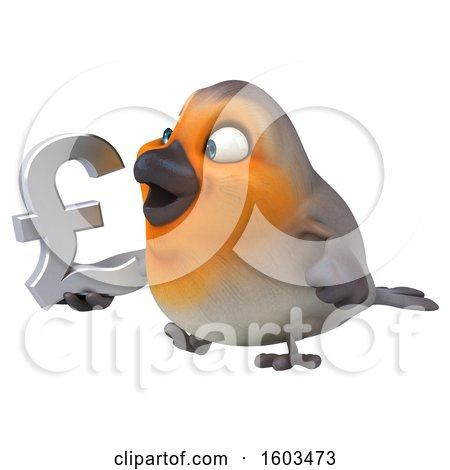 Clipart of a 3d Robin Bird Holding a Lira Symbol, on a White Background - Royalty Free Illustration by Julos
