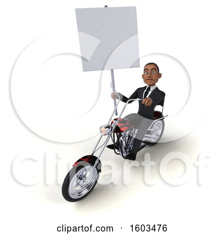 Clipart of a 3d Black Business Man Biker Riding a Chopper Motorcycle, on a White Background - Royalty Free Illustration by Julos