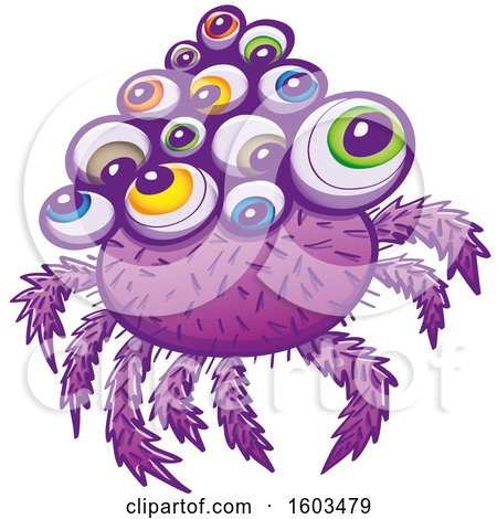 Clipart of a Cartoon Purple Monstrous Spider with Colorful Eyeballs - Royalty Free Vector Illustration by Zooco