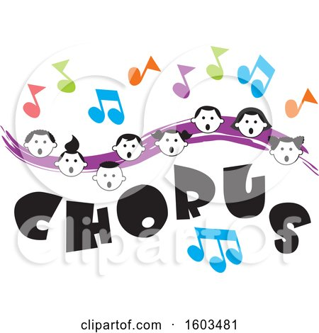 Clipart of a Purple Wave with Faces of Happy Children and Music Notes over Chorus Text - Royalty Free Vector Illustration by Johnny Sajem