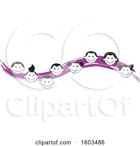 Clipart of a Purple Wave with Faces of Happy Children - Royalty Free Vector Illustration by Johnny Sajem