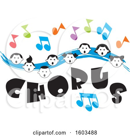 Clipart of a Blue Wave with Faces of Happy Children and Music Notes over Chorus Text - Royalty Free Vector Illustration by Johnny Sajem