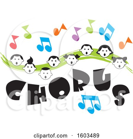Clipart of a Green Wave with Faces of Happy Children and Music Notes over Chorus Text - Royalty Free Vector Illustration by Johnny Sajem