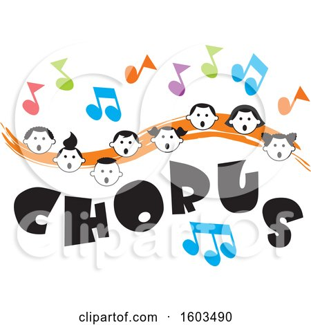 Clipart of an Orange Wave with Faces of Happy Children and Music Notes over Chorus Text - Royalty Free Vector Illustration by Johnny Sajem