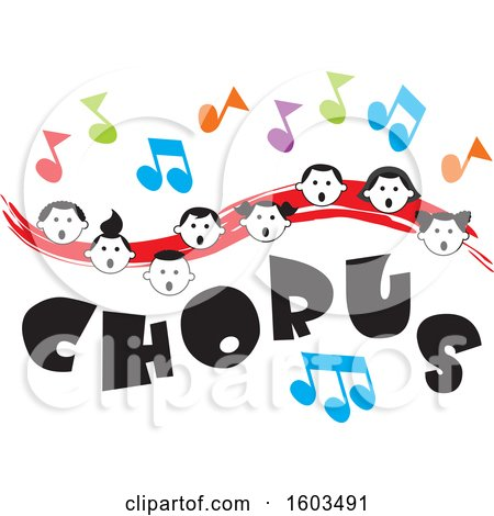 Clipart of a Red Wave with Faces of Happy Children and Music Notes over Chorus Text - Royalty Free Vector Illustration by Johnny Sajem