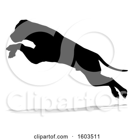 Clipart of a Silhouetted Mastiff Dog Jumping, with a Reflection or Shadow, on a White Background - Royalty Free Vector Illustration by AtStockIllustration